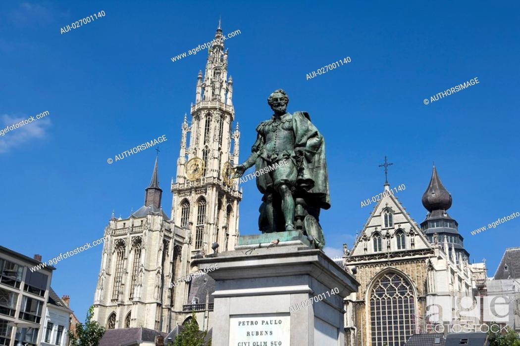 Stock Photo: Belgium - Flanders - Antwerp - Statue de Pierre Paul Rubens et la cathŽdrale Notre-Dame-d'Anvers Onze-Lieve-Vrouwekathedraal.