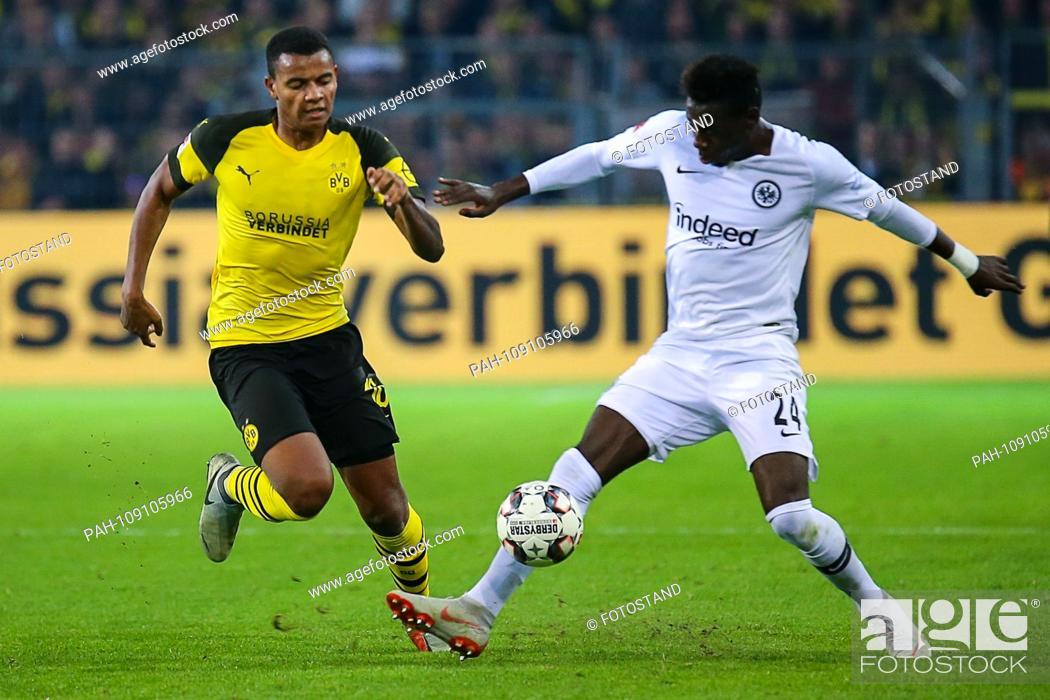 Stock Photo: Dortmund, Germany 14th September 2018: 1. BL - 18/19 - Borussia Dortmund vs. Dortmund. Eintracht Frankfurt li. in the duels Manuel Akanji (Borussia Dortmund).