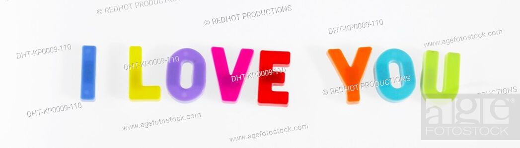 Stock Photo: Plastic letter magnets spelling out I love you.