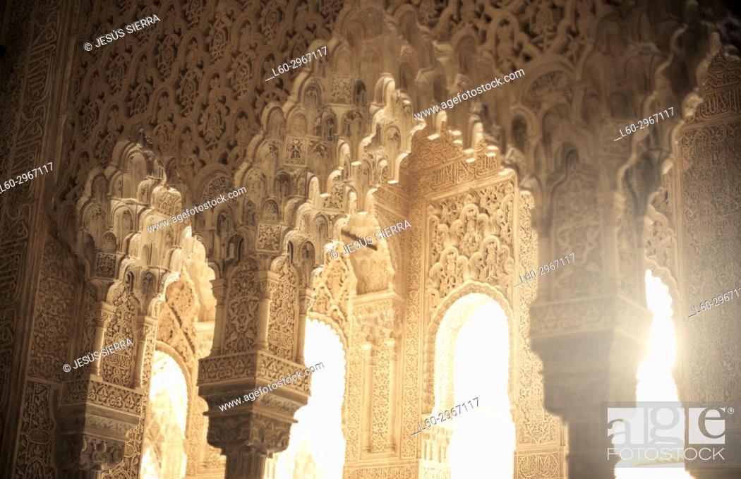Stock Photo: Columns, Patio de los Leones, Alhambra, Granada, Andalucia, Spain.