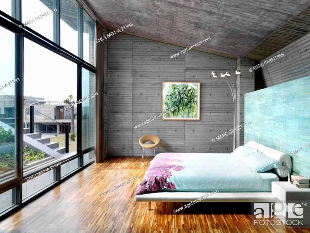 Stock Photo Modern Master Bedroom With Large Windows