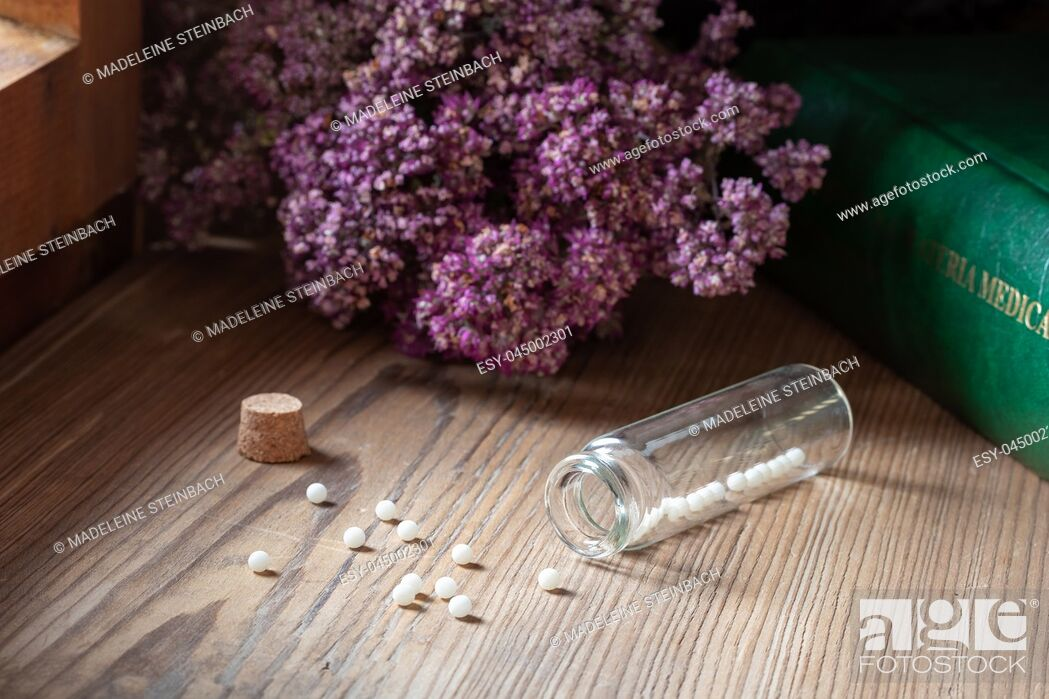 Stock Photo: A bottle of homeopathic pills with dried herbs and a materia medica, i. e. a list of remedies and their therapeutic properties.
