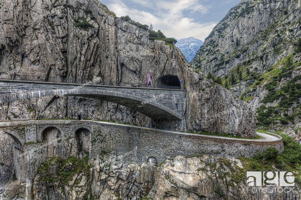 Stock Photo: Devil's Bridge, Andermatt, Uri, Switzerland, Europe.