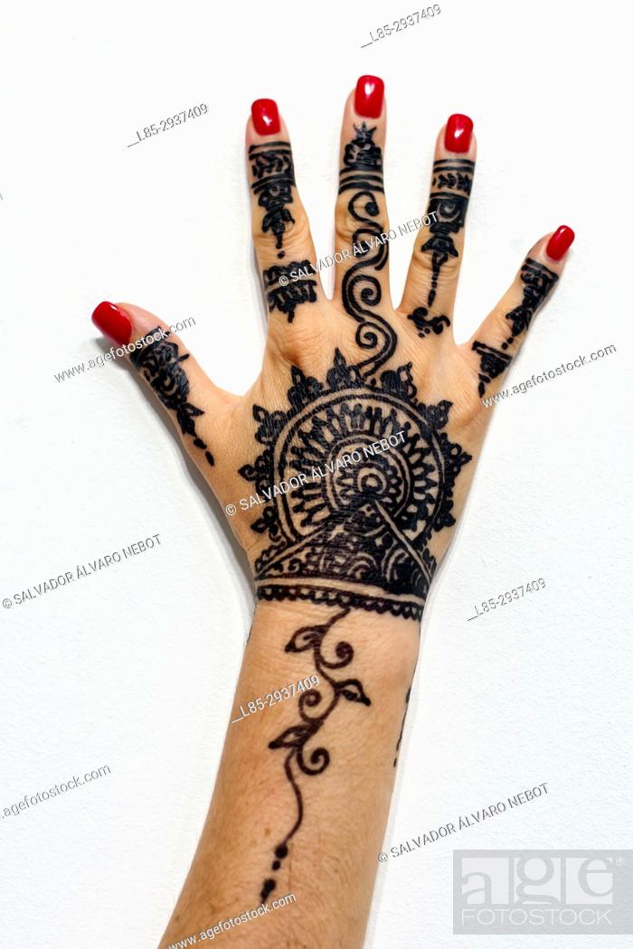 Stock Photo: Woman hand with Henna tattoo, Casablanca, Morocco.
