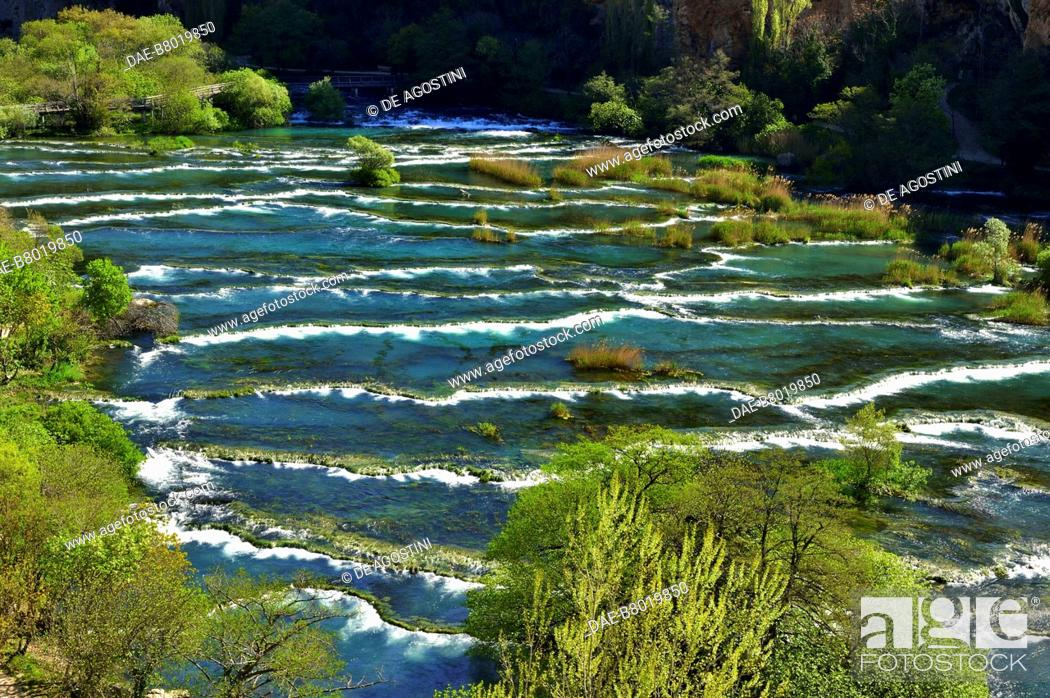 Stock Photo: Roski Slap, Krka Waterfalls, Krka National Park, Croatia.