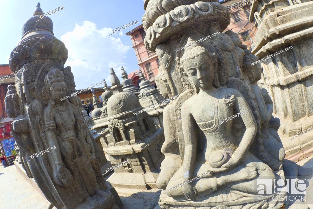 Stock Photo: Buddhist Sculpture, Swayambhunath Temple, Monkey Temple, UNESCO World Heritage Siite, Kathmandu, Nepal, Asia.