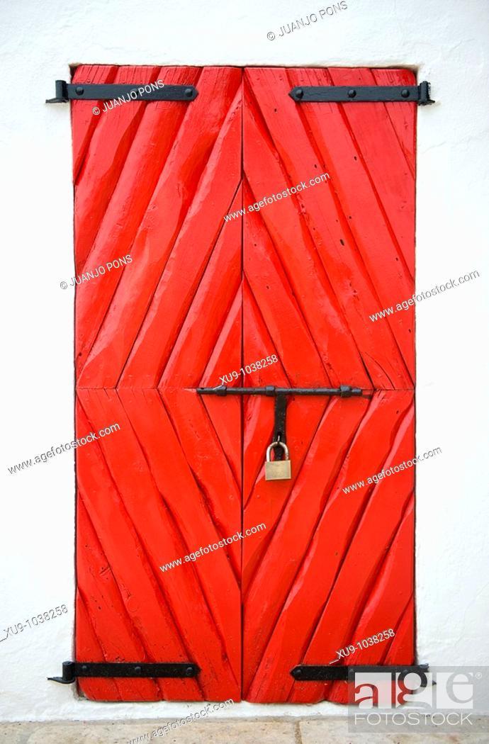 Stock Photo: Red door.