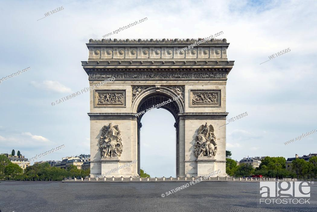 Stock Photo: An emblematic monument of Paris, the Arch of Triumph, built between 1806 and 1836 by order of Napoleon Bonaparte to commemorate the victory at the Battle of.