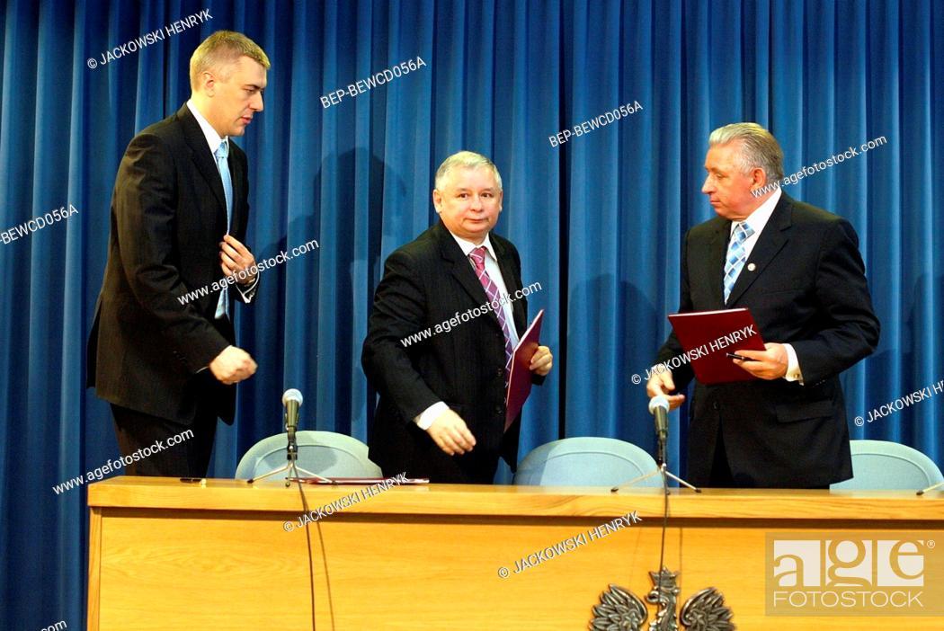 Stock Photo: Warsaw, Poland. 29.06.2007. Press conference. Pictured: Jaroslaw Kaczynski, Roman Giertych, Andrzej Lepper.
