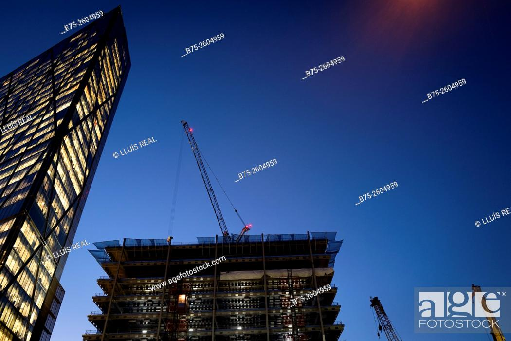 Stock Photo: View of modern office building, and another one under construction with cranes in Soreditch High Street, Tower Hamlets, East London, London, England, UK, Europe.