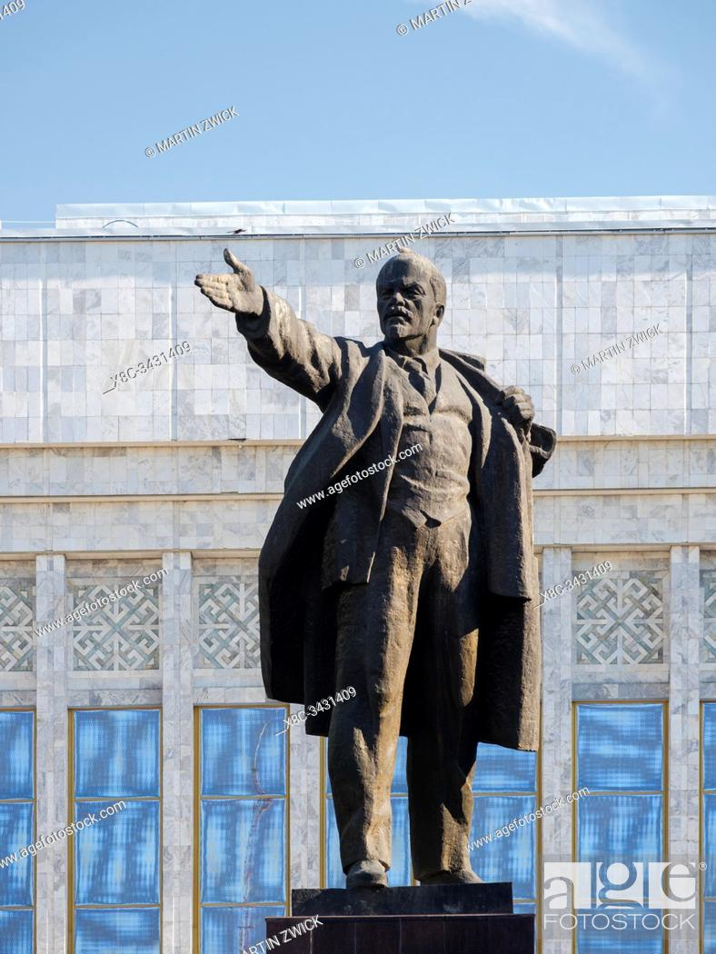 Stock Photo: The Lenin monument at the National Museum. The capital Bishkek located in the foothills of Tien Shan. Asia, Central Asia, Kyrgyzstan.