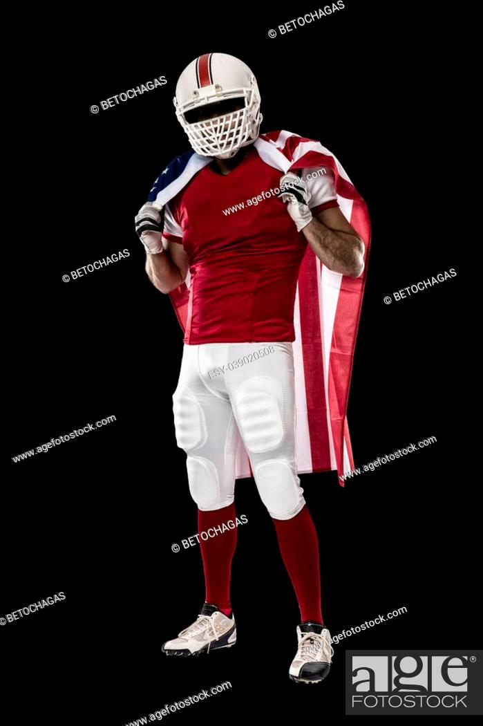 Imagen: Football Player with a red uniform and a american flag, on a Black background.