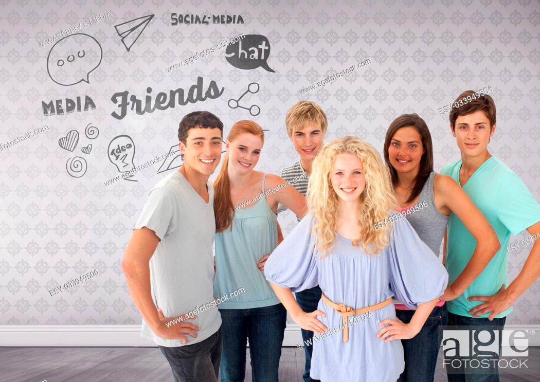 Stock Photo: Group of young adults standing in front of friends and social media text.