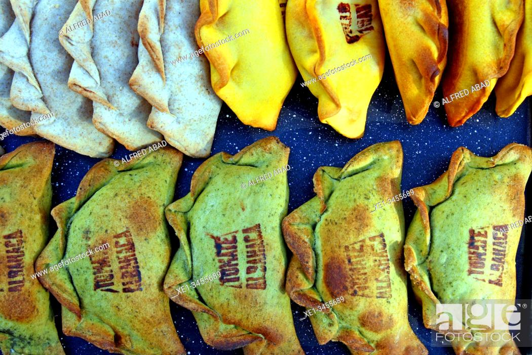 Stock Photo: Traditional Argentine meat pies, All Those Food Market 2019, Barcelona, ??Catalonia, Spain.