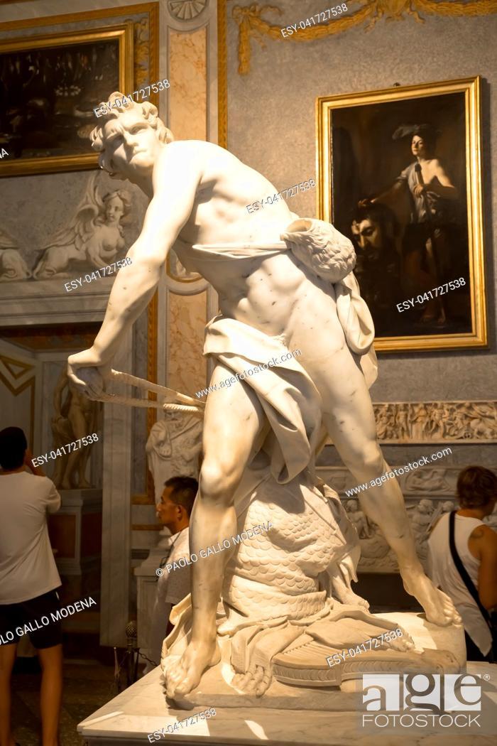 Stock Photo: ROME, ITALY - AUGUST 24, 2018: Gian Lorenzo Bernini masterpiece, David, dated 1624.
