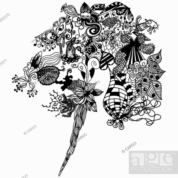 Stock Photo: Black and white bouquet of abstract floral patterns.