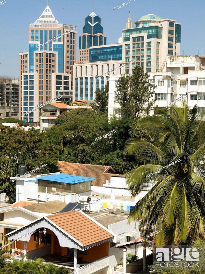 Stock Photo: Changing skyline with newer buildings in the cantonment area of Bangalore, India.