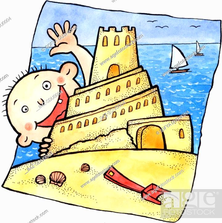 Stock Photo: A little boy building a sand castle at the beach.