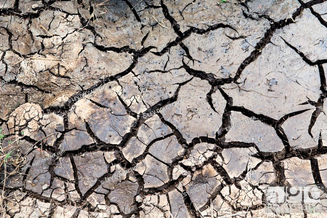 Stock Photo: drought, ecology and environment concept - dry cracked ground surface.