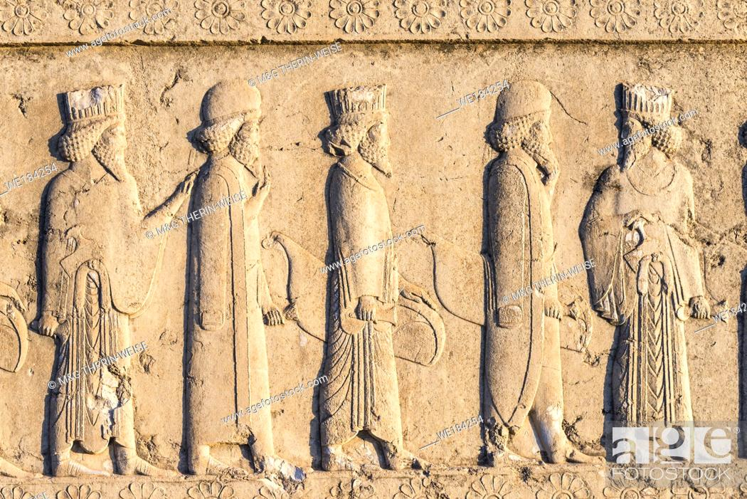 Stock Photo: Persepolis, Apadana stairway facade, Ancient relief of the Achaemenids, Medes and Persians, Fars Province, Islamic Republic of Iran.