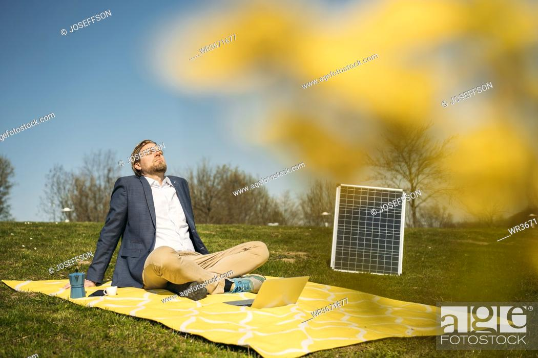 Stock Photo: Male professional relaxing on picnic blanket by solar panel at park during sunny day.