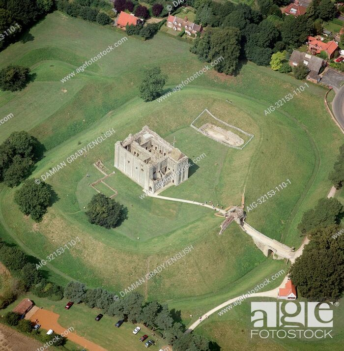 Stock Photo: Castle Rising Castle. Aerial view.