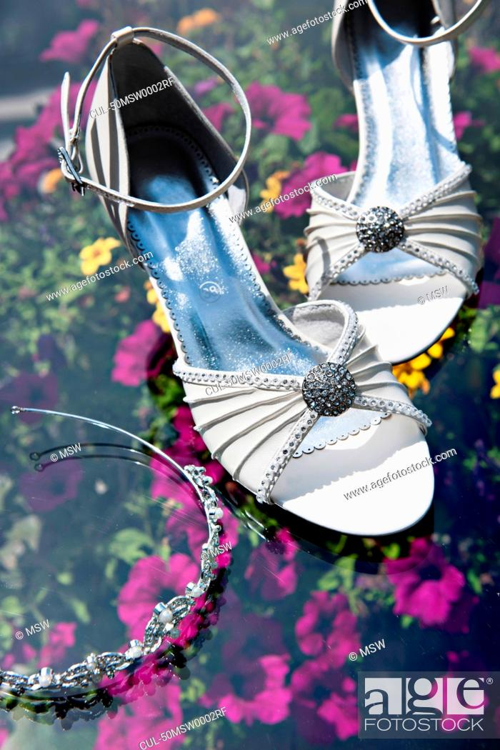 Stock Photo: Matching high heels and headband.