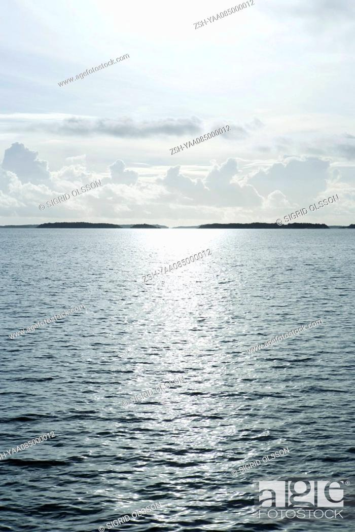 Stock Photo: Seascape with distant land.