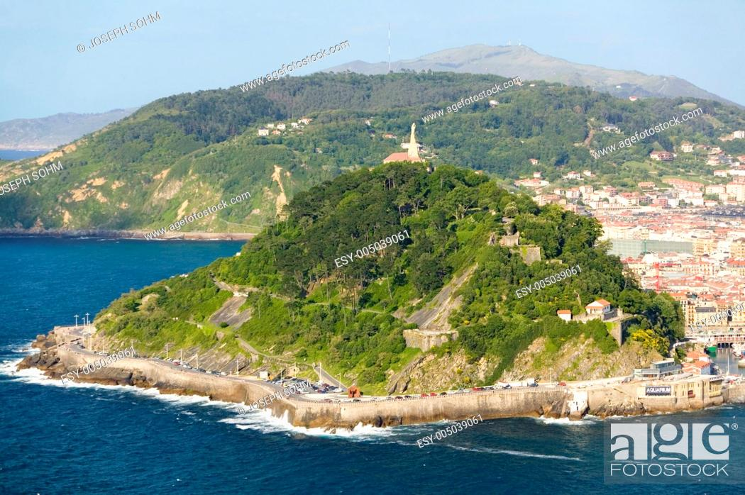 Stock Photo: Isla Santa Clara Island in Bahia de La Concha, Donostia-San Sebastian, Basque region of Spain, the Queen of Euskadis and Cantabrian Coast.