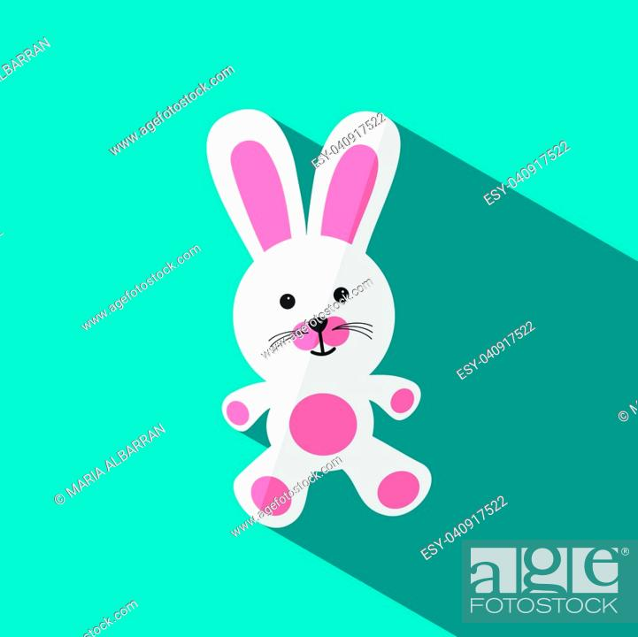 Stock Vector: White and pink stuffed bunny with shade on blue background.