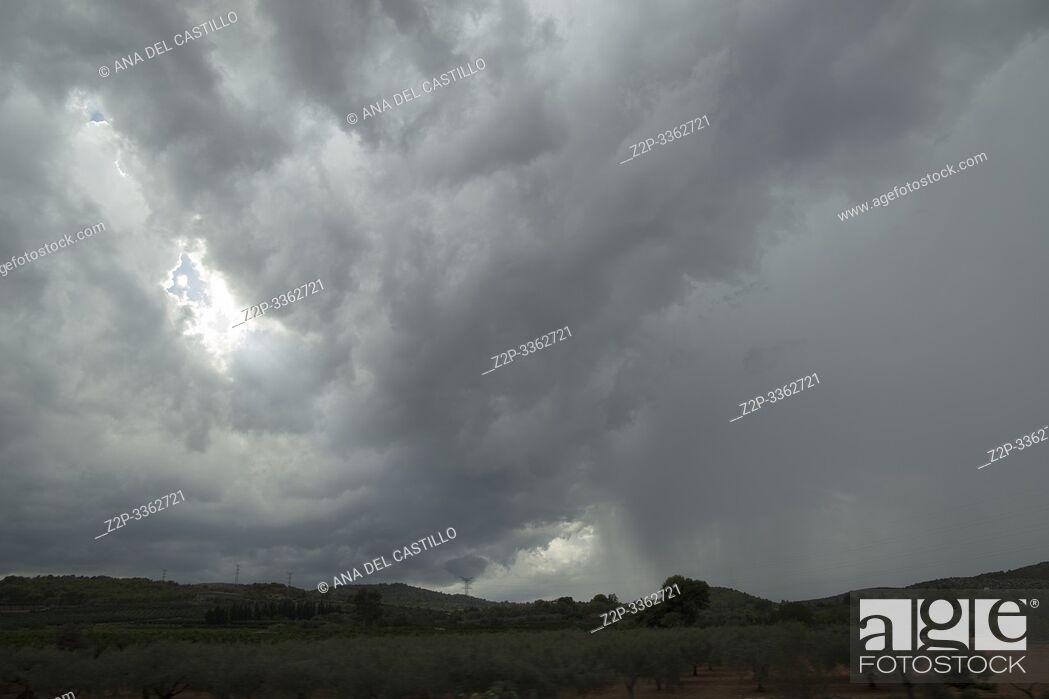Stock Photo: Dark storm clouds. Aragon Spain.