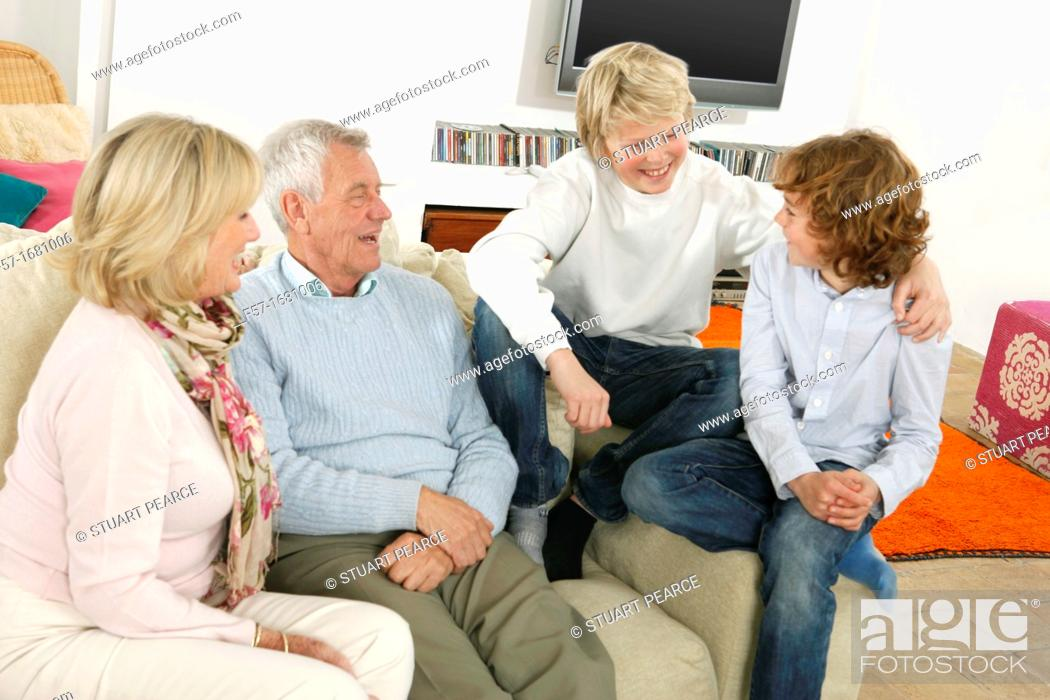 Stock Photo: Grandparents and grandsons.