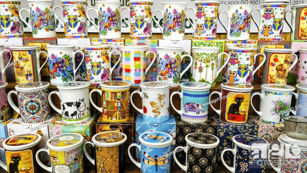 Stock Photo: Varied mugs for sale.