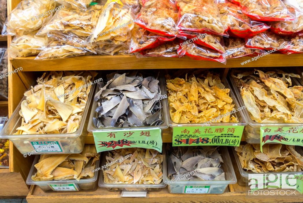 Stock Photo: New York City, USA, Chinatown District, Detail Shelves Dried Goods in a Chinese Pharmacy, Medecines, Drug Store.