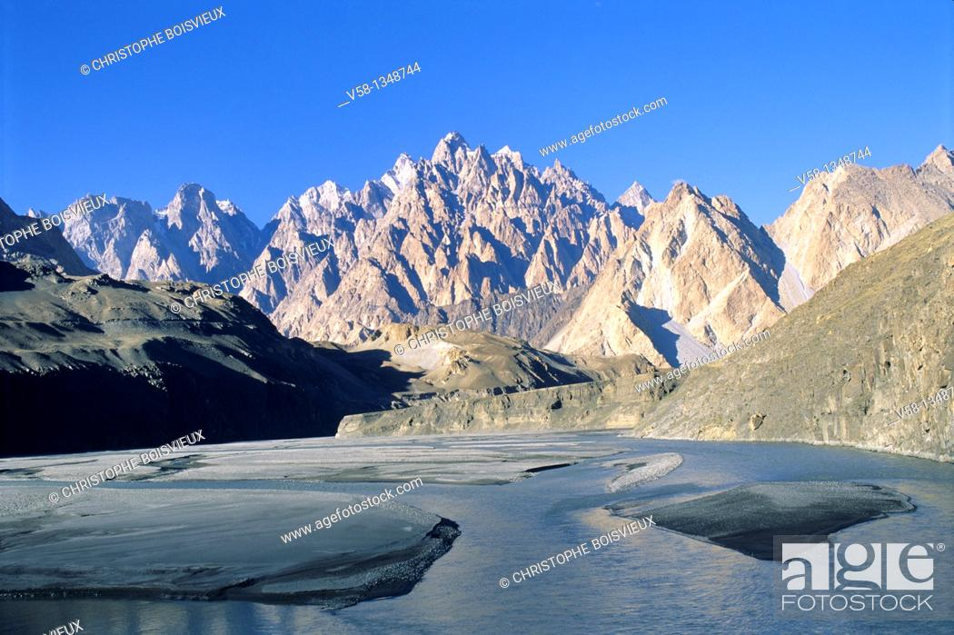 Stock Photo: Pakistan, Hunza valley, Hunza river and Cathedral mountain.