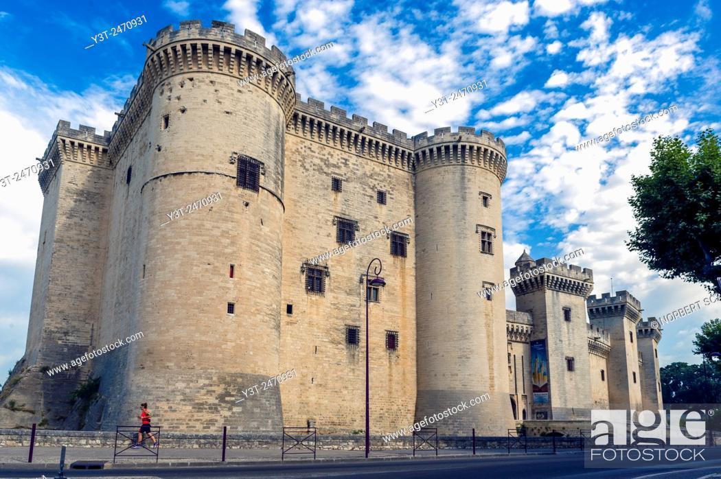 Stock Photo: Europe. France. Bouche-du-Rhone. Alpilles. Tarascon. The medieval castle of King René, fifteenth century.
