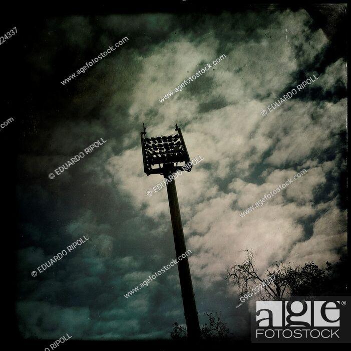 Stock Photo: Stadium lighting tower, smart phone, shot.