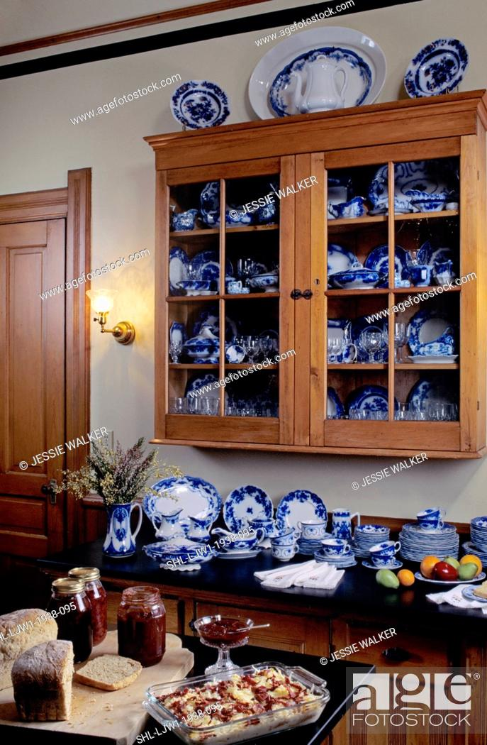 Stock Photo   KITCHENS: Victorian Kitchen , Looking To Display Cabinet  Filled With Flow Blue Dishes, Black Countertop Covered With Flow Blue Dishes  ,in ...
