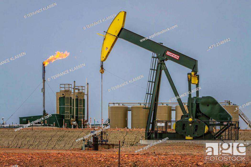 Imagen: Flaring natural gas at a Bakkan play oil pumper installation near Williston, North Dakota, USA.