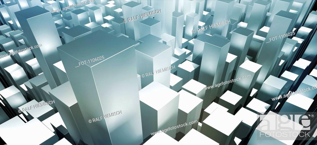Stock Photo: Metallic gray three dimensional rectangular shapes.
