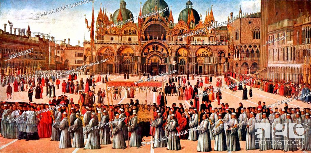 Gentile Bellini, Procession of the True Cross in Piazza San Marco ...