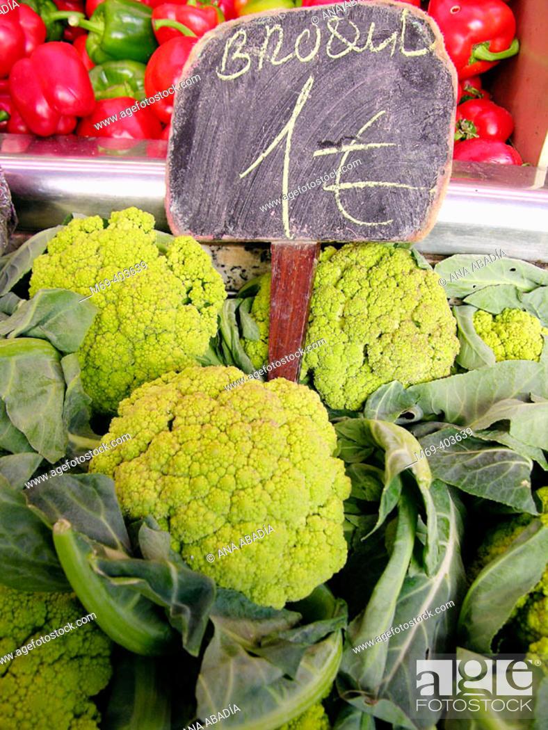 Stock Photo: Broccoli. La Boquería market. Barcelona. Spain.