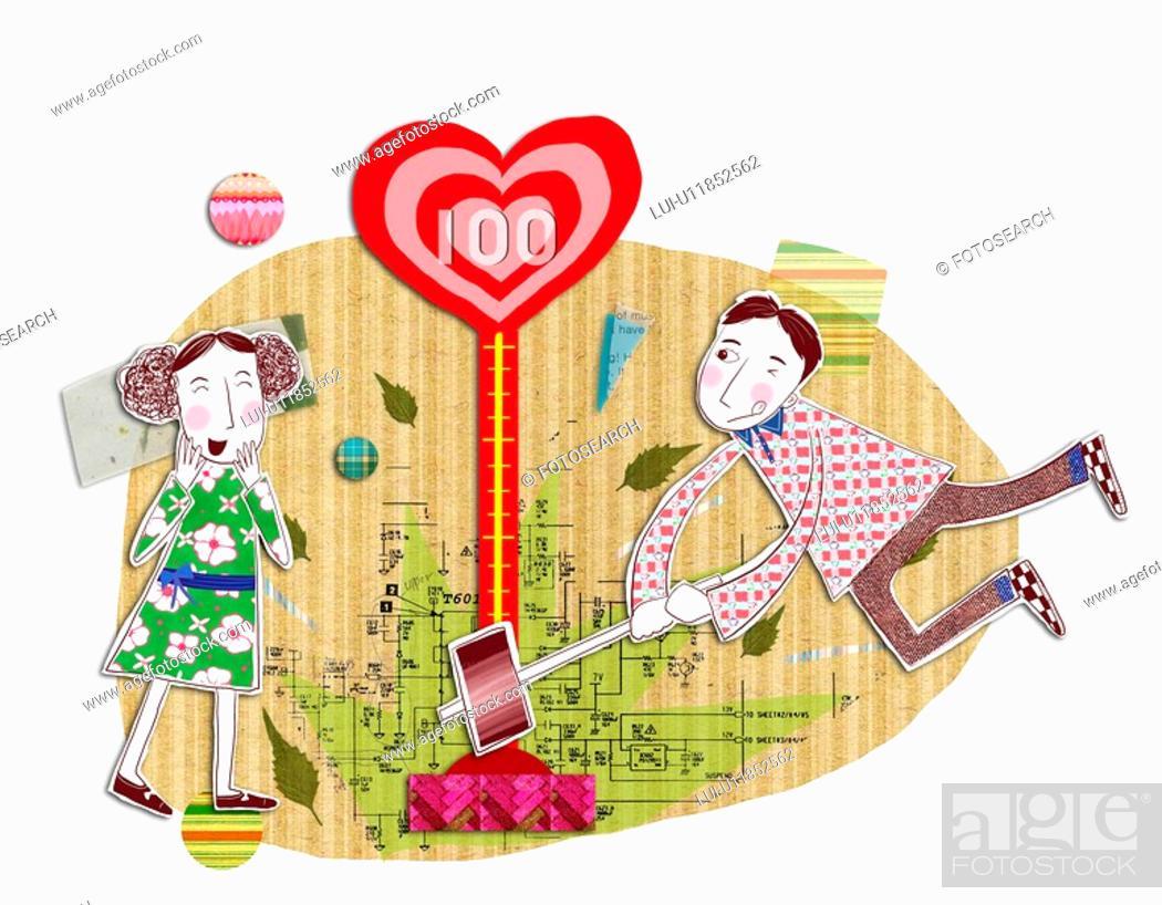 Stock Photo: Power, men, Lovers, women, woman, Power of love, heart.