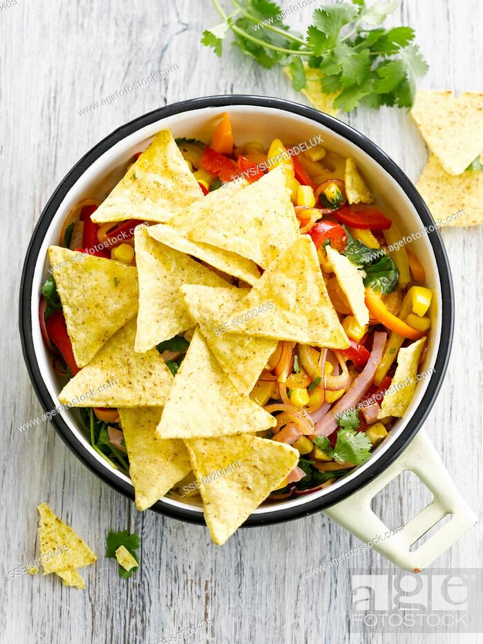 Stock Photo: Tortilla crisps with Mexican salad.