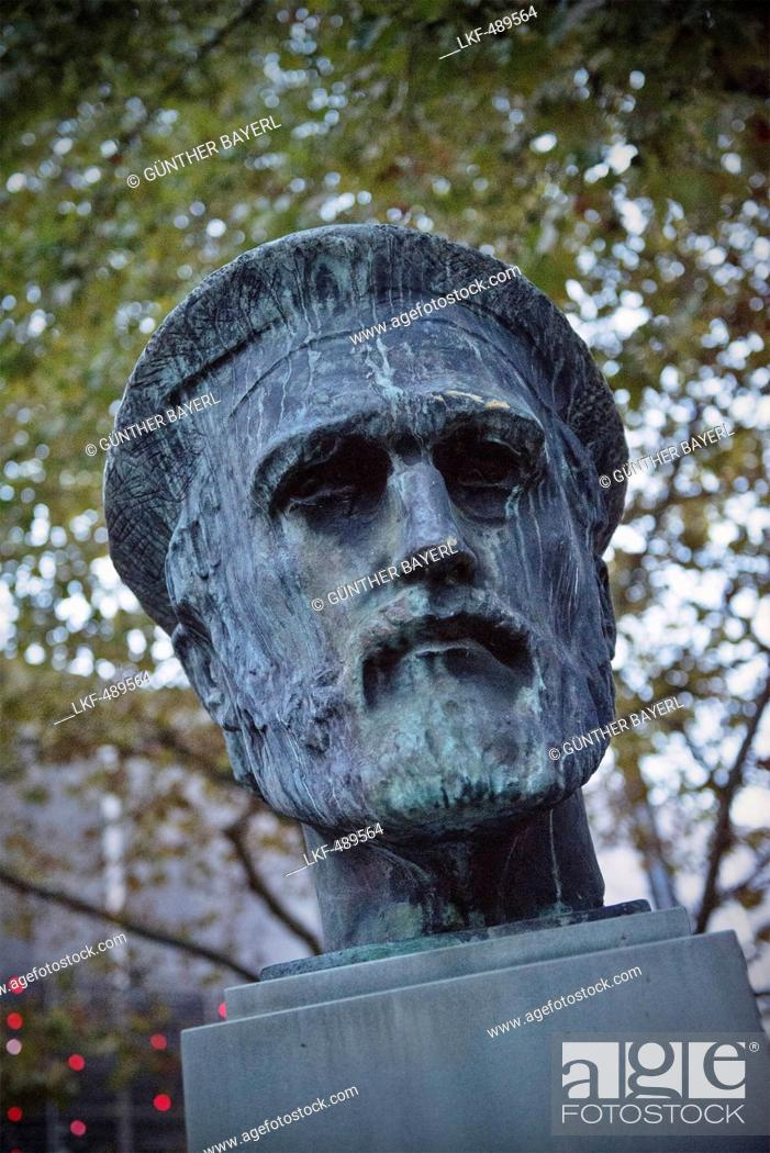 Stock Photo: Sculpture of Johannes Gutenberg, the inventor of book printing, Mainz, capital of Rhineland-Palatinate, Germany.