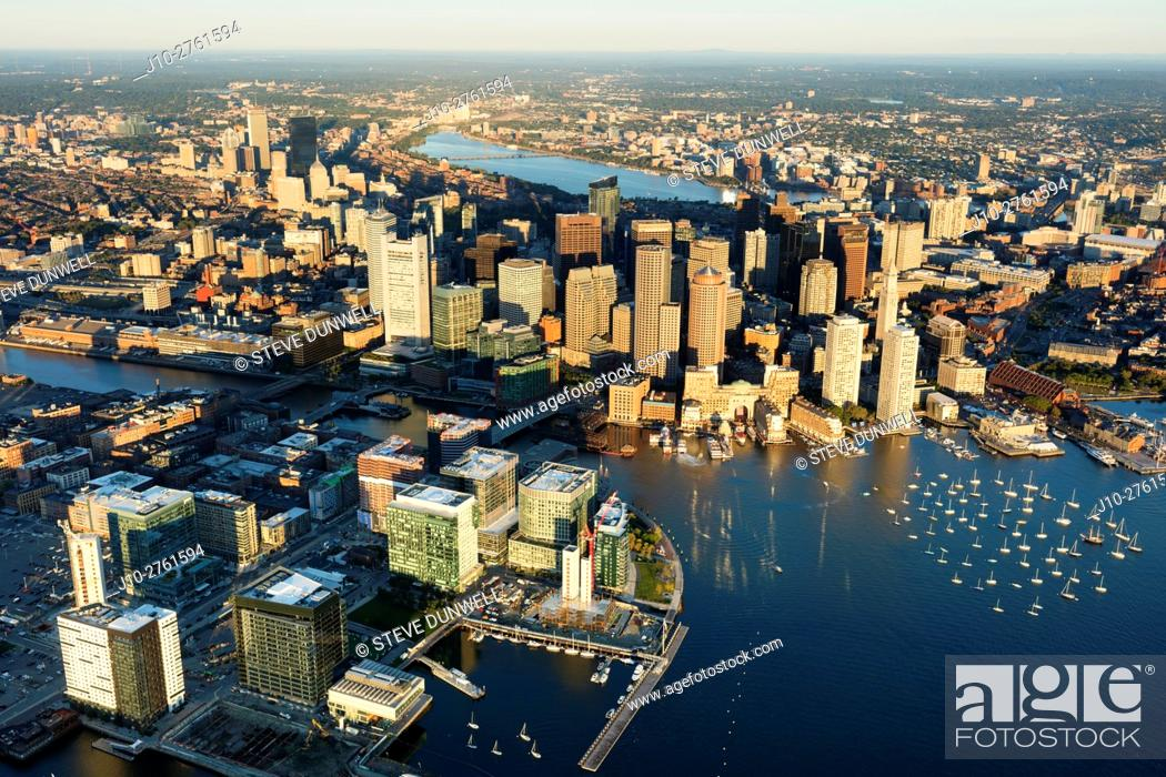 Stock Photo: Seaport district, aerial, Fan Pier, South Boston, Massachusetts, USA.