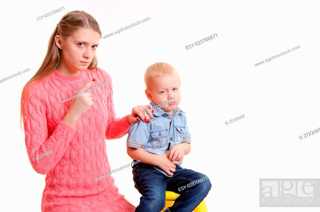 child does not want to listen my mother farewell, Stock Photo