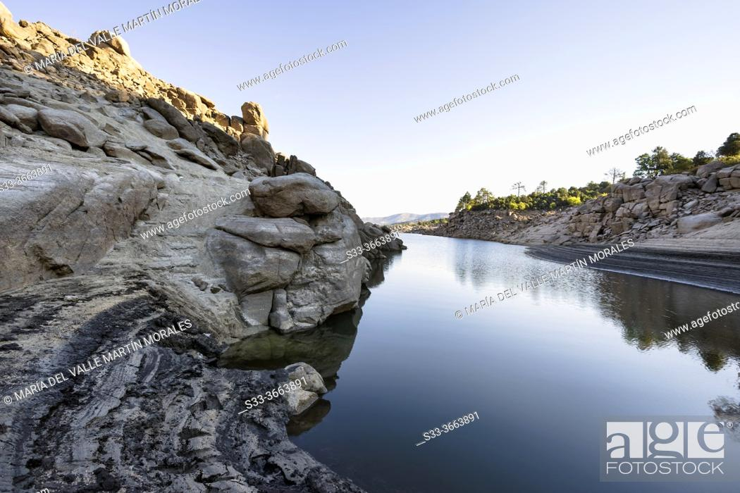 Stock Photo: Drought at Burguillo reservoir in summer time. Avila. Spain. Europe.