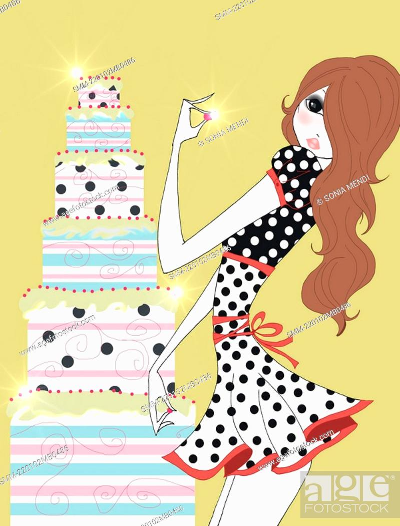 Stock Photo: Young woman standing next to tall cake.