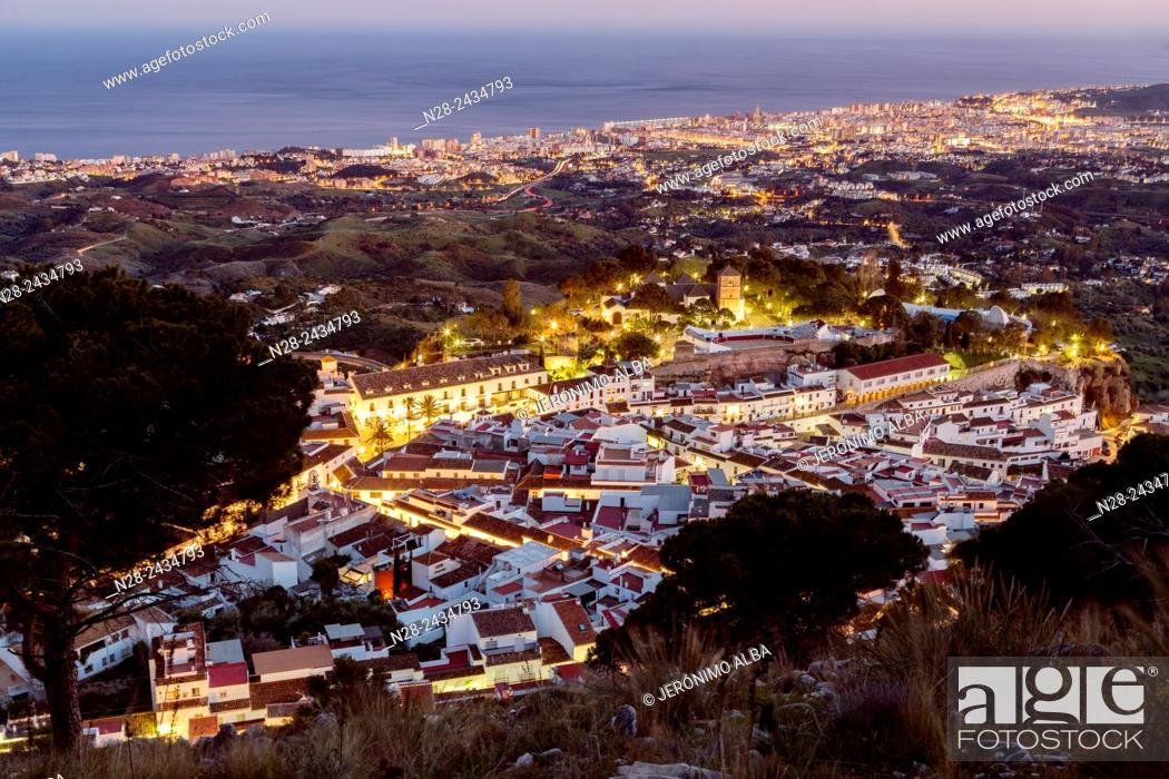 Stock Photo: White village (Pueblo blanco) at dusk, Mijas, Malaga province, Andalusia, Spain.